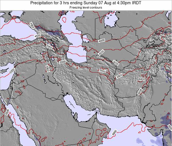 Iran Precipitation for 3 hrs ending Thursday 20 Dec at 3am Tehran time map