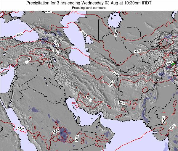 Iran Precipitation for 3 hrs ending Thursday 20 Dec at 3pm Tehran time map