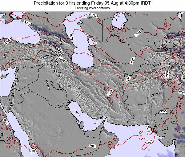 Iran Precipitation for 3 hrs ending Friday 21 Dec at 3am Tehran time map
