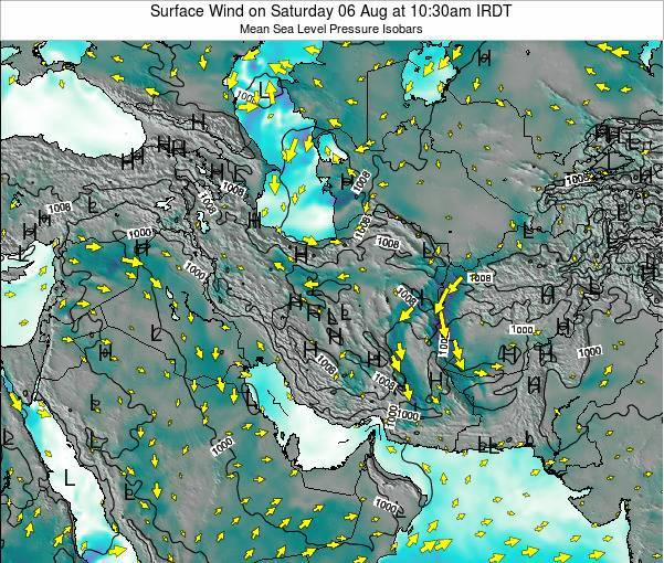 Iran Weather Map.Iran Surface Wind On Monday 25 Feb At 9 30pm Irst