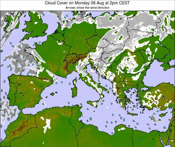 Malta Cloud Cover on Friday 25 Apr at 8am CEST map