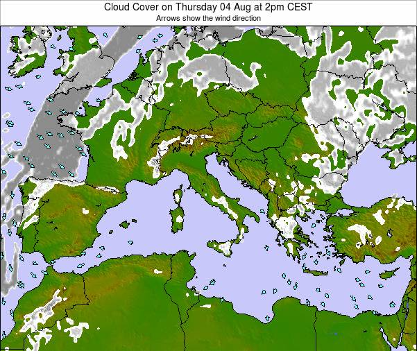 Malta Cloud Cover on Friday 25 Jul at 2am CEST map