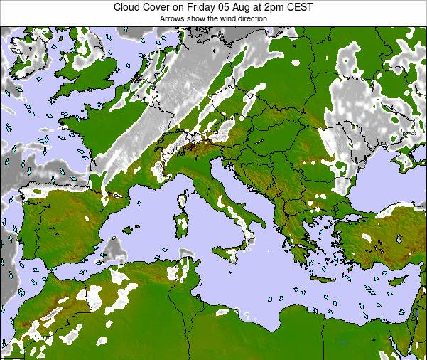 Malta Cloud Cover on Friday 06 Dec at 1am CET map