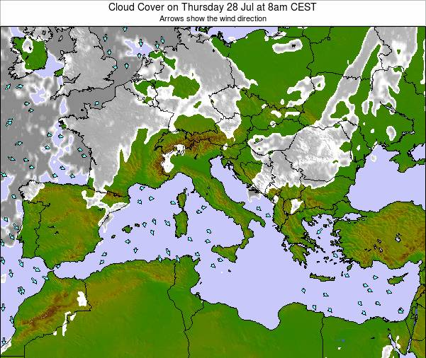 Malta Cloud Cover on Sunday 09 Mar at 7am CET map