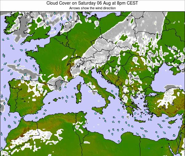Malta Cloud Cover on Sunday 20 Apr at 8pm CEST map