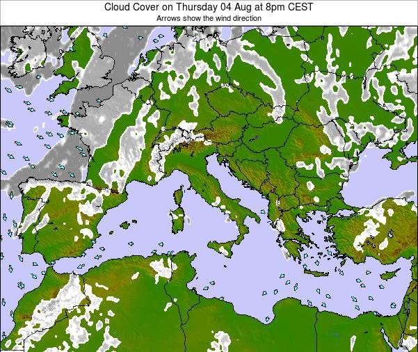 Malta Cloud Cover on Monday 11 Dec at 7am CET map