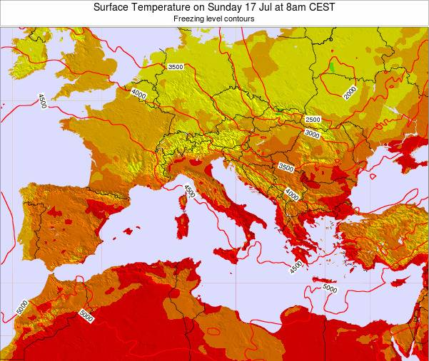 Malta Surface Temperature on Thursday 24 Jul at 8pm CEST map
