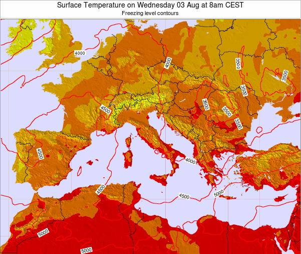 Malta Surface Temperature on Thursday 20 Jun at 2am CEST map