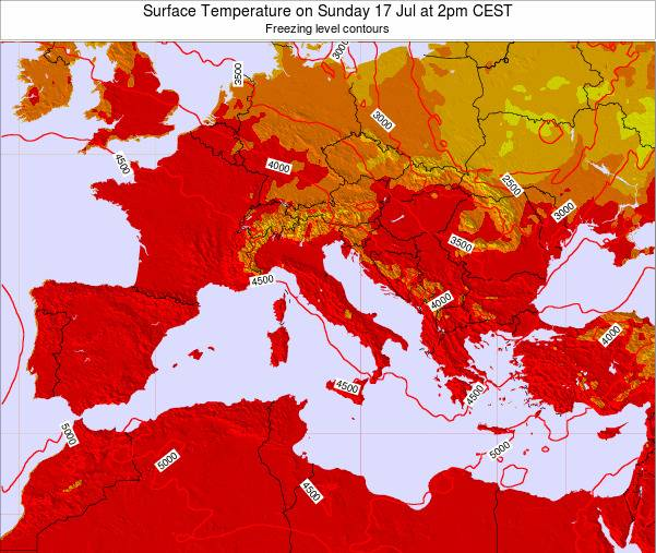 Malta Surface Temperature on Saturday 08 Mar at 1am CET map