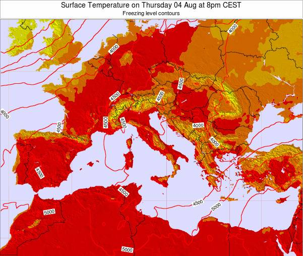 SanMarino Surface Temperature on Tuesday 18 Dec at 7am CET map