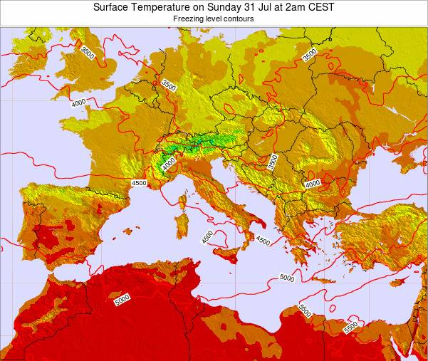 HolySee Surface Temperature on Wednesday 18 Jul at 8am CEST map