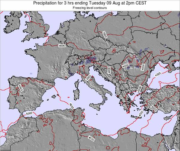 Italy Precipitation for 3 hrs ending Saturday 22 Jun at 2pm CEST
