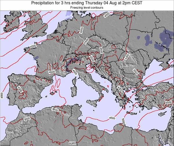 Italy Precipitation for 3 hrs ending Friday 25 Jul at 2am CEST