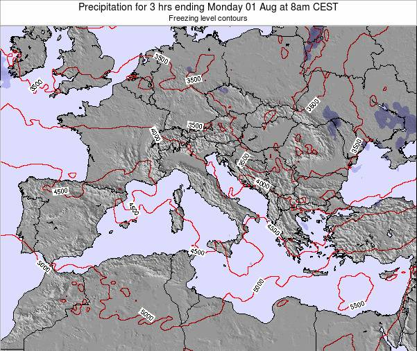 Italy Precipitation for 3 hrs ending Saturday 19 Apr at 8am CEST