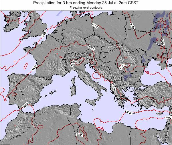 Italy Precipitation for 3 hrs ending Tuesday 21 May at 8pm CEST