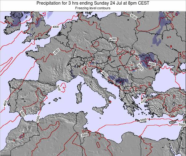 Italy Precipitation for 3 hrs ending Tuesday 16 Jan at 1pm CET map
