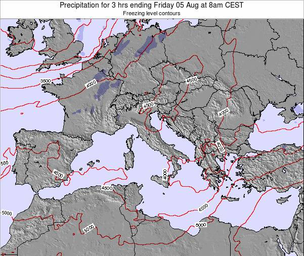 Italy Precipitation for 3 hrs ending Thursday 24 Apr at 8am CEST