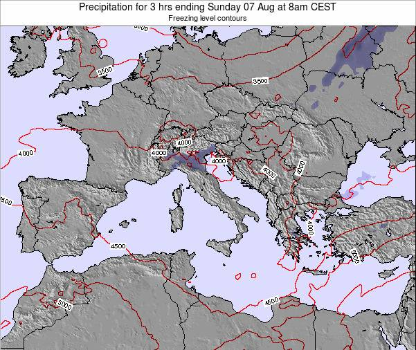 Malta Precipitation for 3 hrs ending Wednesday 12 Mar at 7pm CET map