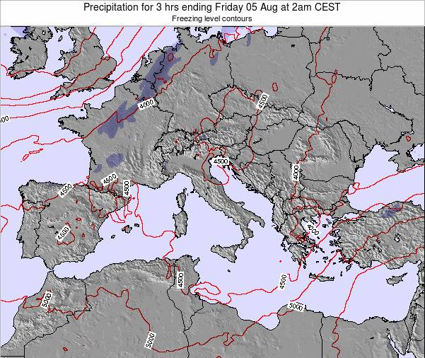 Italy Precipitation for 3 hrs ending Tuesday 02 Sep at 8am CEST