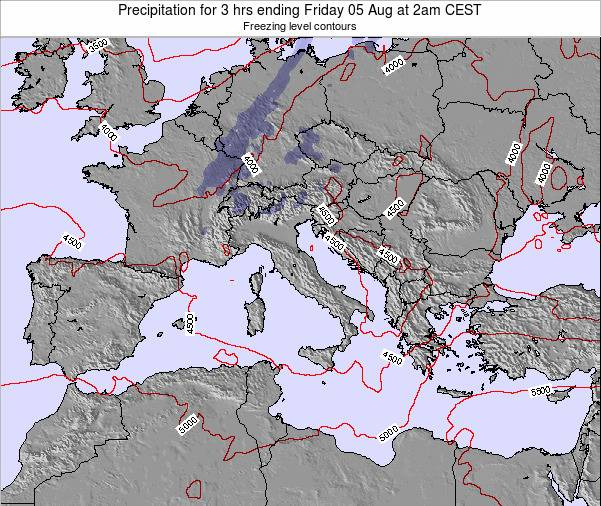 Italy Precipitation for 3 hrs ending Saturday 26 Apr at 8am CEST