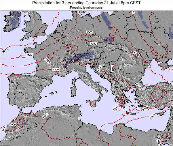Italy Precipitation for 3 hrs ending Sunday 27 Jul at 8pm CEST