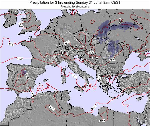 Italy Precipitation for 3 hrs ending Tuesday 17 Dec at 7pm CET