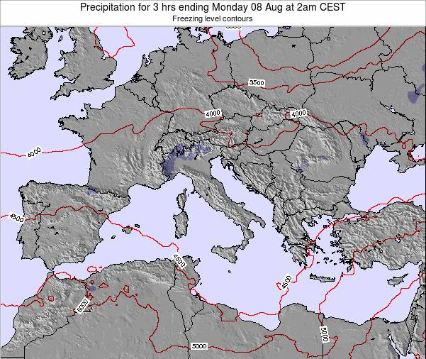 Italy Precipitation for 3 hrs ending Tuesday 07 Oct at 8pm CEST