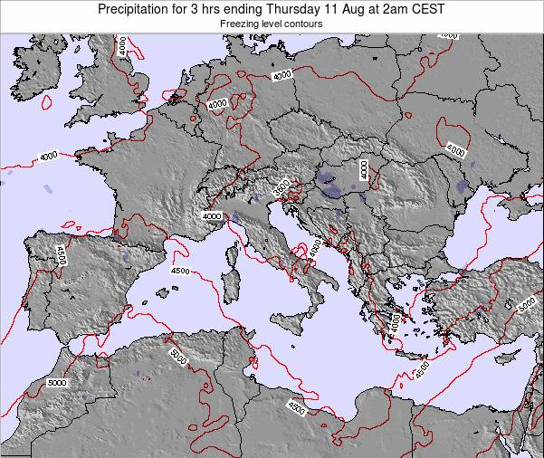 Italy Precipitation for 3 hrs ending Wednesday 30 Apr at 2pm CEST