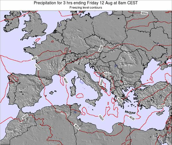Italy Precipitation for 3 hrs ending Tuesday 29 Jul at 2am CEST