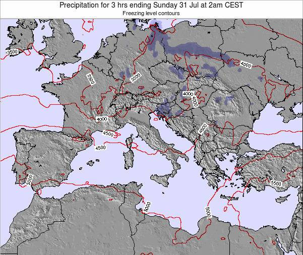 Italy Precipitation for 3 hrs ending Wednesday 29 Oct at 8pm CEST