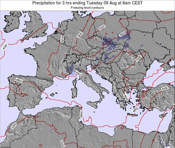 Italy Precipitation for 3 hrs ending Thursday 27 Jul at 8am CEST