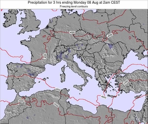 Italy Precipitation for 3 hrs ending Monday 17 Mar at 1pm CET