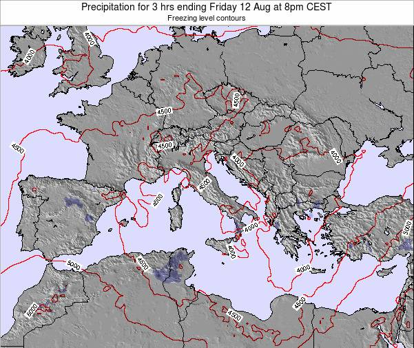 Italy Precipitation for 3 hrs ending Sunday 27 Apr at 2pm CEST