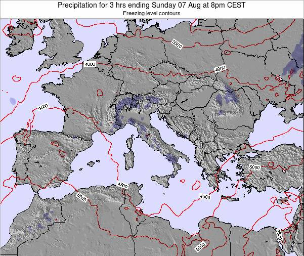 Italy Precipitation for 3 hrs ending Friday 20 Dec at 1am CET