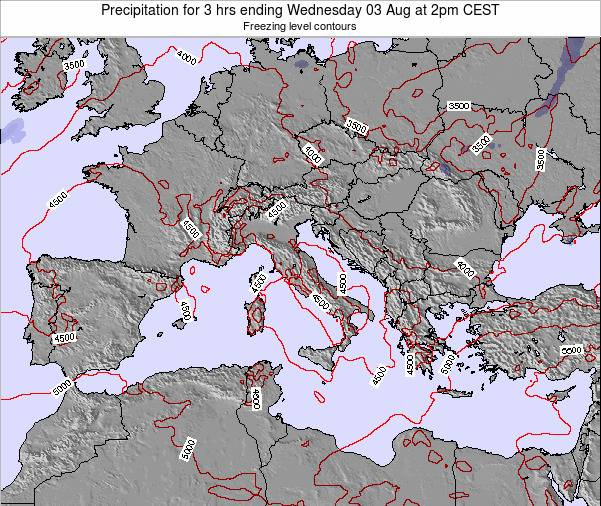 Italy Precipitation for 3 hrs ending Wednesday 03 Dec at 7am CET