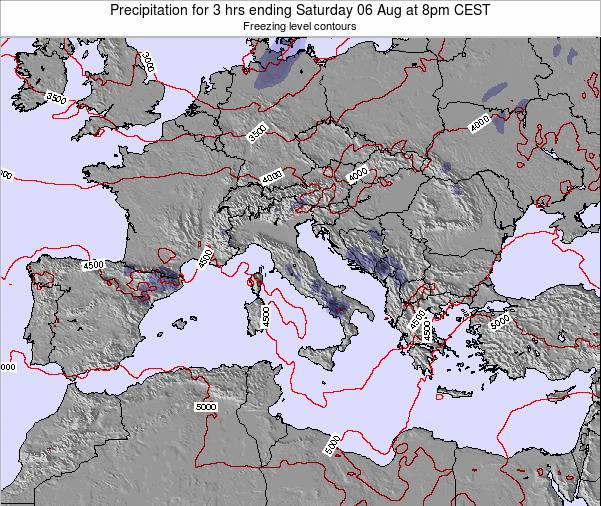 Italy Precipitation for 3 hrs ending Sunday 29 Oct at 8pm CEST