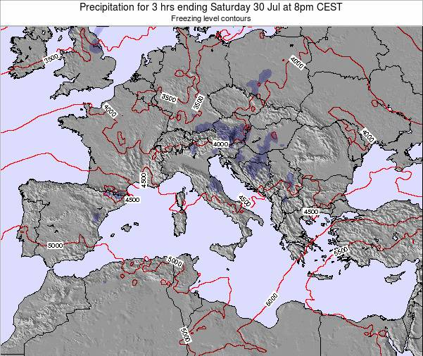 Italy Precipitation for 3 hrs ending Tuesday 18 Mar at 7pm CET