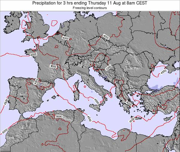 Italy Precipitation for 3 hrs ending Thursday 19 Dec at 1pm CET