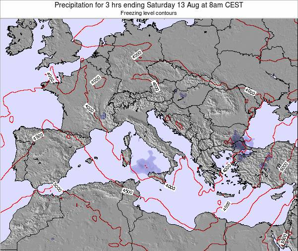 Italy Precipitation for 3 hrs ending Thursday 04 May at 2pm CEST