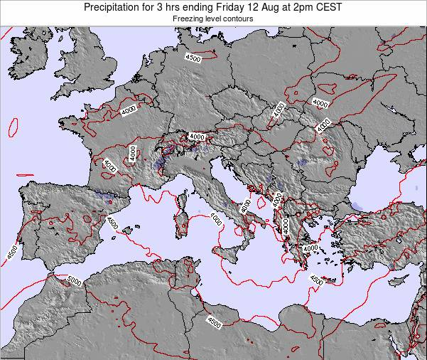 Italy Precipitation for 3 hrs ending Thursday 31 Jul at 8am CEST