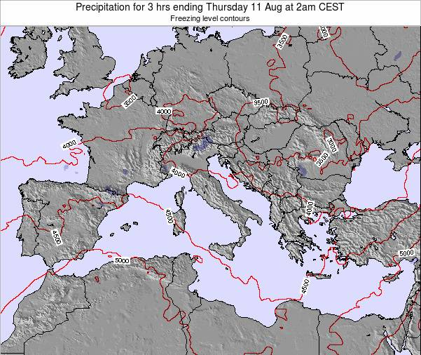 Italy Precipitation for 3 hrs ending Thursday 01 May at 2am CEST