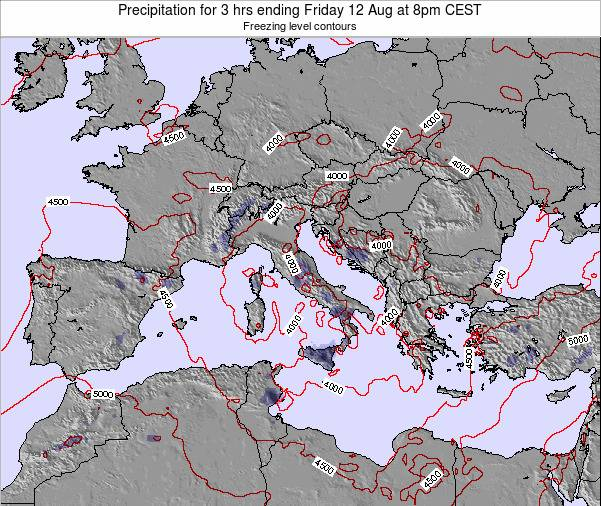 Italy Precipitation for 3 hrs ending Thursday 07 Aug at 8pm CEST
