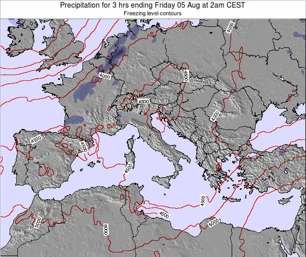 Italy Precipitation for 3 hrs ending Thursday 24 Apr at 2pm CEST