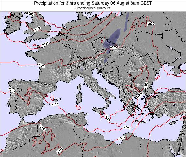 Italy Precipitation for 3 hrs ending Wednesday 23 Jul at 2pm CEST