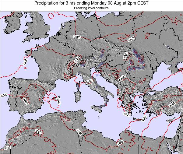 Italy Precipitation for 3 hrs ending Wednesday 12 Mar at 1pm CET
