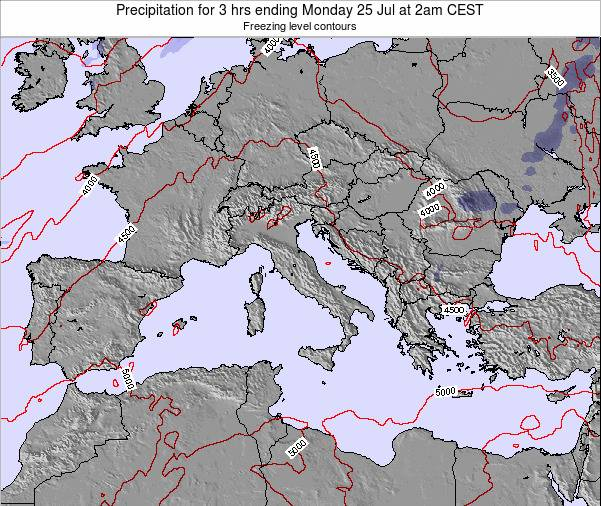Italy Precipitation for 3 hrs ending Friday 25 Jan at 7am CET map