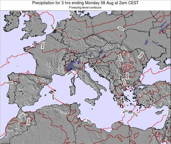 Italy Precipitation for 3 hrs ending Thursday 20 Jun at 2pm CEST