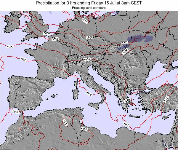 Italy Precipitation for 3 hrs ending Thursday 18 Jul at 2am CEST map