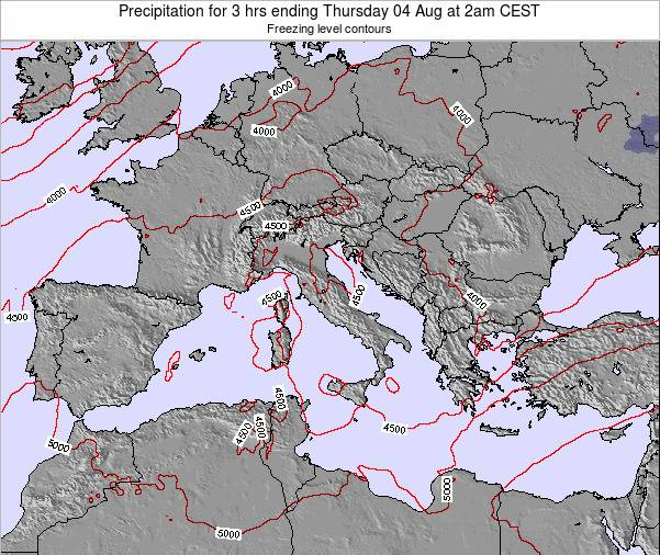 Italy Precipitation for 3 hrs ending Sunday 27 Jul at 2pm CEST