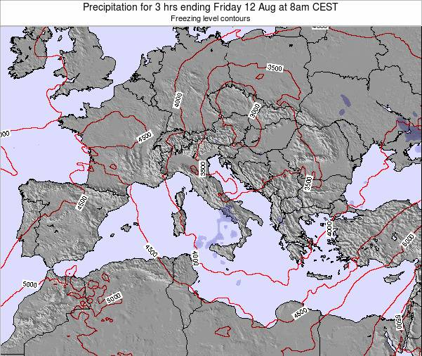 Italy Precipitation for 3 hrs ending Friday 24 May at 2pm CEST